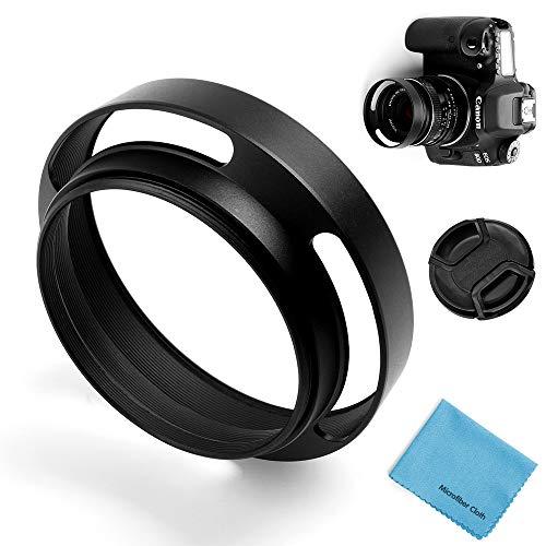 49mm Hohl Gegenlichtblende,Fotover Universal Metall Sonnenblende Streulichtblende mit Objektivdeckel für Canon Nikon Sony Pentax Olympus Fuji Kamera + Mikrofaser Putztuch
