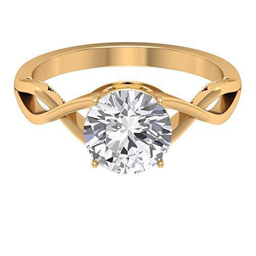 Anillo de compromiso de lujo, D-VSSI 2 ct solitario Moissanite anillo, anillo de boda en espiral, anillo de piedras preciosas vintage, anillo de aniversario de cóctel, 14K Oro amarillo, Size:EU 58