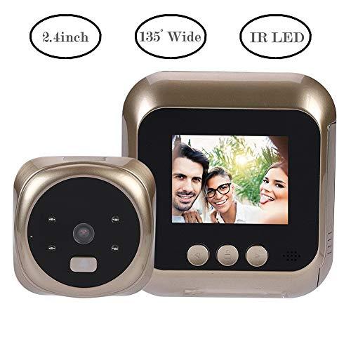 Tosuny digitaal kijkgaatje, kijkgaatje camera, 135 ° hoek + 2,4 inch super helder TFT LCD-scherm, 300 duizend pixel HD camera, 24 uur beveiliging infrarood nachtzicht