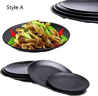 Plate Dish Black Round Sushi Spaghetti Steak Salad Container Pot Shop Japanese Cuisine BBQ Kitchen A 7 inch