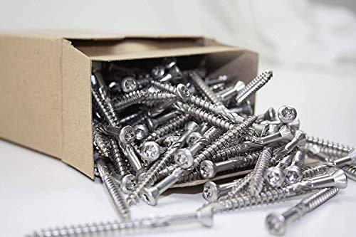 Terrassenschrauben A4-200 Stück T-INOX 5 x 50 mm / 5 x 60 mm - Edelstahl gehärtet - Torx 25, inkl. 1x Edelstahl Bit (200, 5 x 60 mm)