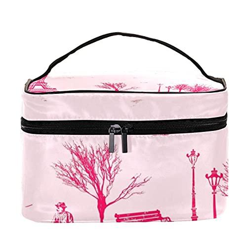 Bolsa de maquillaje de viaje con patrón de pares, bolsa de maquillaje grande, organizador de maquillaje, con cremallera, para mujeres y niñas