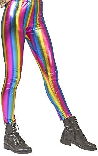 Metallic Leggins für Damen - Regenbogen - Elastische Hose Disco Girl Tanz Show Auftritt