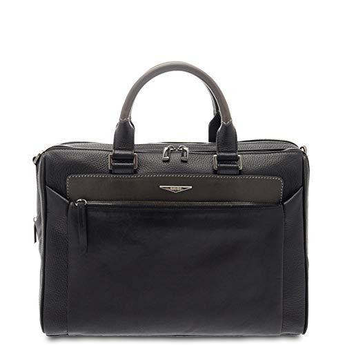 GIUDI ® - Herren-Mappe, Herrentasche, Umhängetasche, Kalbsleder, echtes Leder, Notebook-Hülle 13 Zoll Made in Italy, schwarz / grau (Schwarz) - 10445/T/AE/COL
