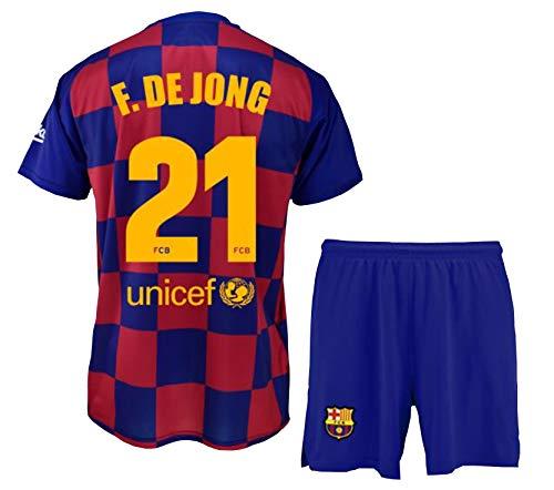 Conjunto Camiseta y pantalón 1ª equipación FC. Barcelona 2019-20 - Replica Oficial con Licencia - Dorsal 21 DE Jong - Niño Talla 10