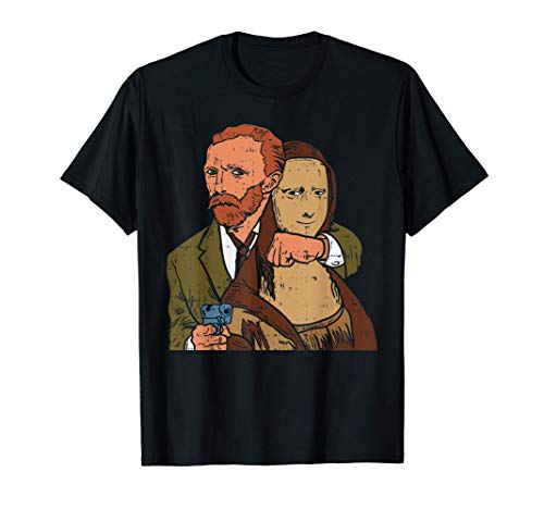 Van Gogh Mona Lisa Funny Famous Art Painting Parody Gift Maglietta