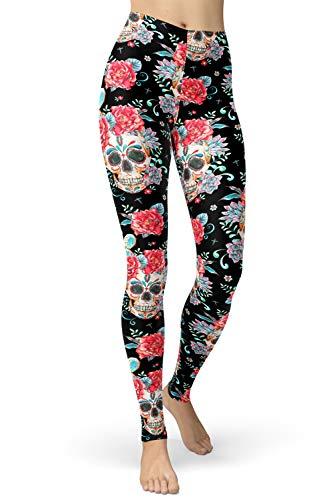 sissycos Leggings para mujer, con estampado de calavera, para yoga, fitness, correr, para niñas, sexy, elásticos, largos, suaves al tobillo, pantalones deportivos Cráneo y rosas vintage. L