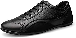 FYXKHj Men's Casual lace-up Shoes Round-Toe Breathable Perforated Flats Shoes