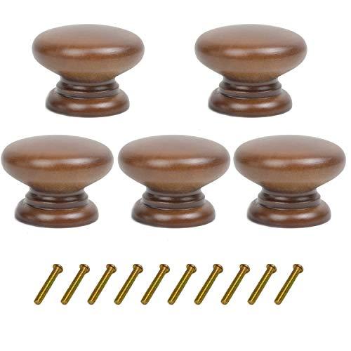 Pack de 5 pomos redondos de madera de nogal para cajones de cocina, armarios de cocina, muebles, aparador, armario, cajón, tiradores