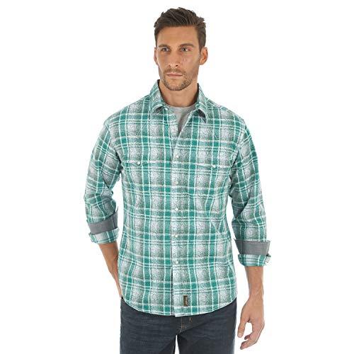 Wrangler Men's Retro Two Pocket Long Sleeve Snap Shirt, Green/White, X-Large