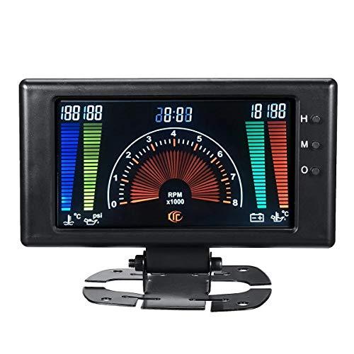 Motorrad Instrument LCD-Digital-Messgerät Öldruckspannung Wasser-Öl-Temperatur Tachometer RPM Auto, 8V-18V 12V 6 in 1
