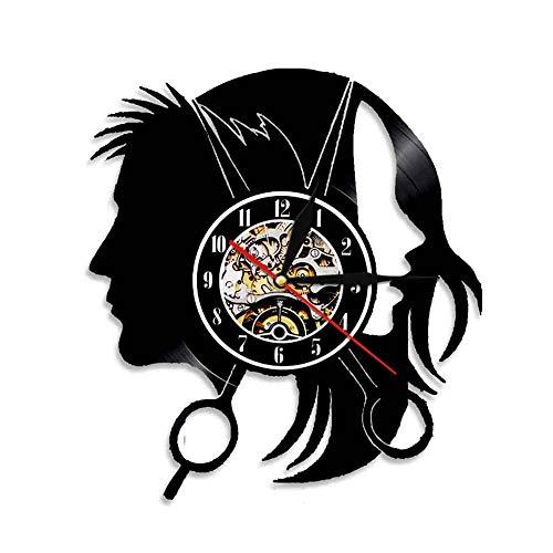Usmnxo Peluquería Salón de Belleza Reloj de Pared Peluquería Corte de Pelo de Moda Tijeras Corte de Pelo Disco de Vinilo Reloj de Pared con luz LED 12 Pulgadas (30 cm)