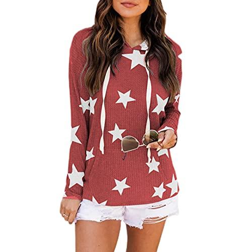 Moda Sudaderas Mujer con Capucha Color Sólido Estampadas Estrellas Camisetas Mujer con Manga Larga Gofre...