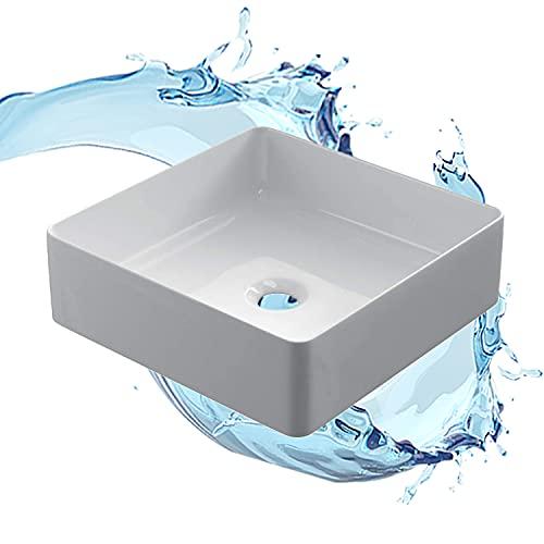 STARBATH PLUS - Lavabo sobre encimera rectangular blanco sin taladro grifo - Encimera baño - Lavabo sobre encimera cerámica - 38 x 38 x 14 cm