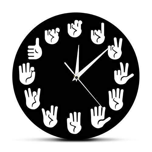 HHKLSF Lenguaje de señas Reloj de Pared Gesto Reloj Moderno Reloj Equivalentes de Las Horas Hechas Exclusivamente para sordos, Negro