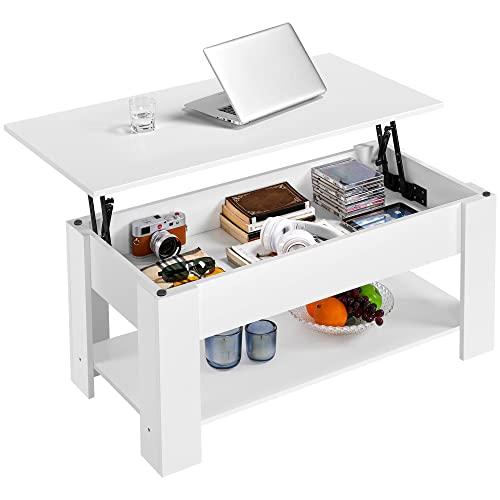Yaheetech Tavolino da caffè sollevabile Tavolo Moderno Elevabile da Salotto Divano caffè con Ripiano Inferiore 98 x 50 x 42-56 cm Bianco