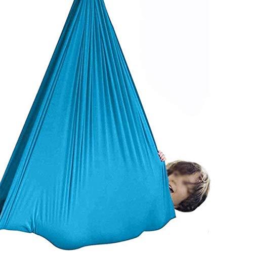 POETRY Silla de yoga terapéutica elástica antigravedad para niños con necesidades especiales, hamaca para autismo, ADHD Aspergers (color: azul tamaño: 150 veces; 280 cm/59 veces; 110 pulgadas)