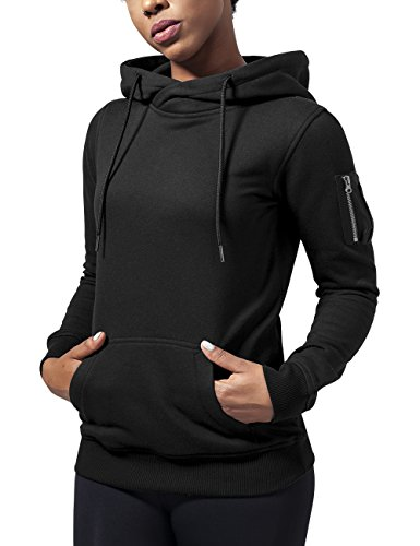 Urban Classics Damen Ladies Bomber Hoody Kapuzenpullover, Schwarz (Black 7), Medium