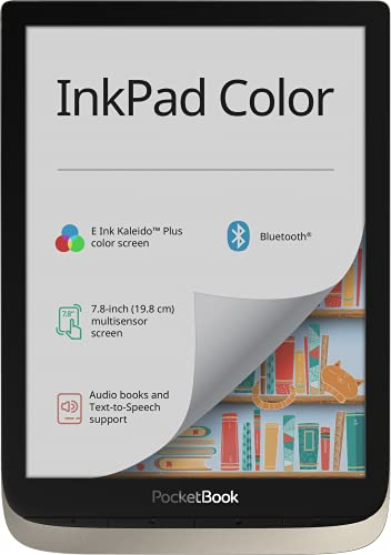 PocketBook e-Book Reader 'InkPad Color' (16 GB Speicher, 19,8 cm (7,8 Zoll) E-Ink Kaleido Plus Farb-Display, Vordergrundbeleuchtung, Wi-Fi, Bluetooth) Moon Silver