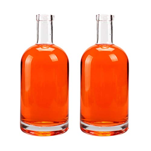 Angoily 2 Piezas de Vidrio Vodka Licor Botella de Vidrio Transparente Vino Whisky Decantador Botella para Vino Whisky Brandy Licor Agua- 500Ml