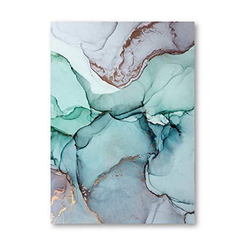 """Arte de Pared Moderno Pintura Abstracta de Aguamarina Impresión de Agua Azul Póster Abstracto Mármol Cuadro Verde y Azul Lienzo Decoración para el hogar 15.7 """"x19.6"""" (40x50cm) Sin Marco"""