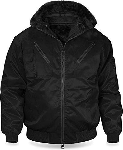 normani Winter Pilotenjacke mit mit Thermofutter und Faserpelz - Arbeitsjacke Farbe Schwarz Größe 5XL