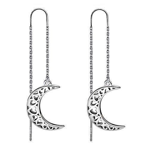 Meixao 925 Sterling Silver Filigree Crescent Moon Dangle Needle Threader Pull Through Earrings for Women (White)