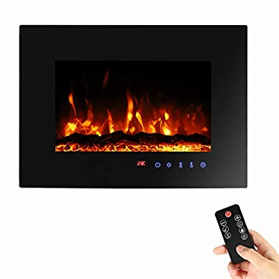 Sekey Home Electric Fireplace Stove Heater, 900W/1800W Wall Mounted Electric Fire, Electric Log Wood Burner with Thermostat, Weekly Timer, LED Lighting, 7 Flame Colors, Remote Control, Black
