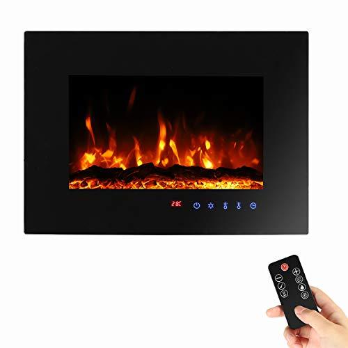 Sekey Home Elektrokamin | Deko-Kamin | Wandkamin mit Heizlüfter | Thermostat | Wochentimer | LED-Beleuchtung | 3D Flammeneffekte | 7 Flammenfarben | Fernbedienung | Geräuscharm | Wandmontage | Schwarz