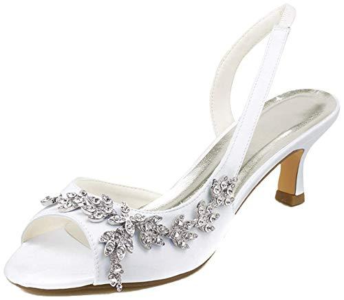 Emily Bridal Zapatos de Boda Peep Toe Perlas Rhinestones Zapatos de Novia...