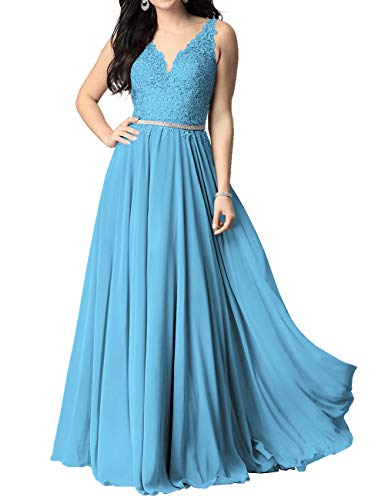 Abendkleid Lang Chiffon Ballkleider Brautkleider A-Linie Partykleid Standesamtkleid Hochzeitkleid Blau 48