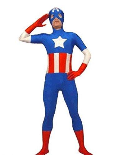 EyeCandy UK SuperSkin - Costume di Captain America per Adulti, Unisex, in Lycra, Aderente
