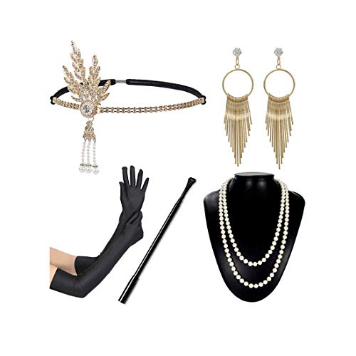 1920s Flapper Accessories Women 20s Headpiece Necklace Cigar Holder Gloves Gatsby Costume Set for Prom Party