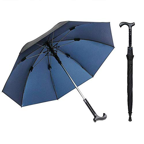 NJSDDB paraplu volwassen houten handvat multifunctionele outdoor anti-slip rechte staaf riet paraplu de oudere krukken paraplu voor oude man, Blauw
