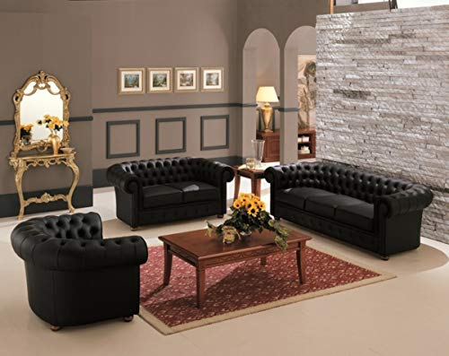 JVmoebel Design Couch Polster Garnitur Sofagarnitur Ledersofa Set Klassische Chesterfield