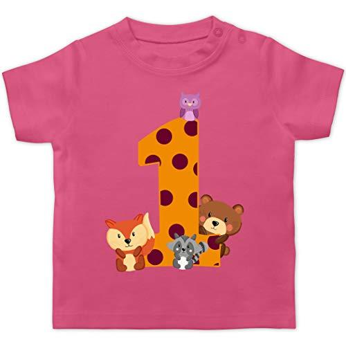 Geburtstag Baby - 1. Geburtstag Waldtiere - 12/18 Monate - Pink - erster Geburtstag t Shirt - BZ02 - Baby T-Shirt Kurzarm