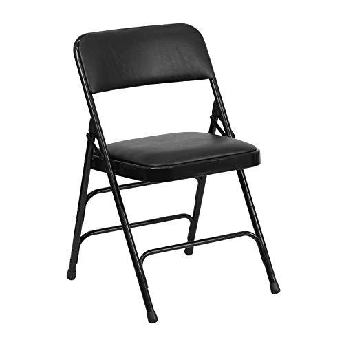 Flash Furniture HERCULES Series Curved Triple Braced & Double Hinged Black Vinyl Metal Folding Chair