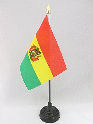 AZ FLAG TISCHFLAGGE BOLIVIEN 15x10cm goldene splitze - BOLIVIANISCHE TISCHFAHNE 10 x 15 cm - flaggen