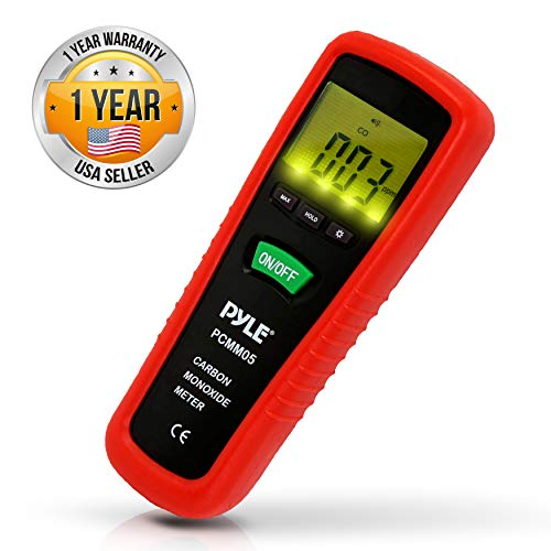 Hand Held Carbon Monoxide Meter - High Accuracy and 1000 PPM Measurement Range CO Sensor w/Digital LCD Display Auto Power Off Safety Alarm Battery Operated and Control Buttons - Pyle PCMM05