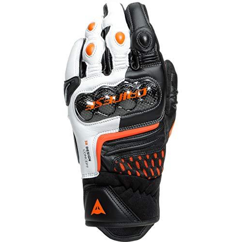 Dainese Guantes cortos para moto Carbon 3, guantes cortos negro/blanco/naranja, XL, para hombre, atletas, todo el año, piel/textil, multicolor