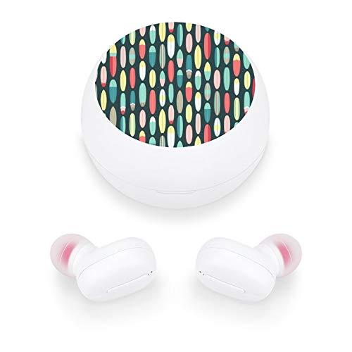 Audífonos inalámbricos elegantes y hermosos auriculares Bluetooth con mini estuche de carga, regalo para mujeres y niñas para llamadas/hogar/oficina/correr/fitness (tablas de surfe)