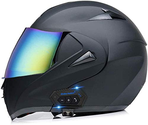 Casco Bluetooth De Motocicleta, Casco Modular De Doble Vista del Asiento De La Cara, Casco Aprobado por El Dot, Casco Delantero Femenino Masculino Incorporado FM,C,L =(59 60cm)