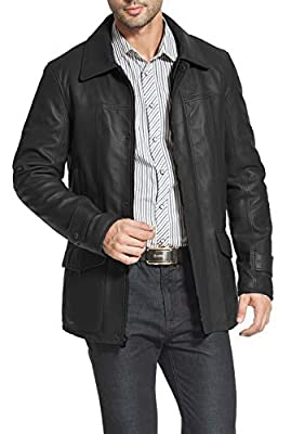 BGSD Men's Hunter Lambskin Leather Coat Black Large from
