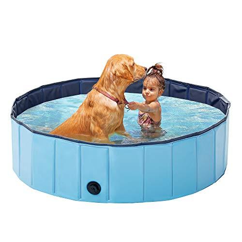 Love's cabin Piscina de plástico duro para perros grandes, patio trasero de perro y piscina de perro, piscina de plástico plegable al aire libre para perros mascotas y niños