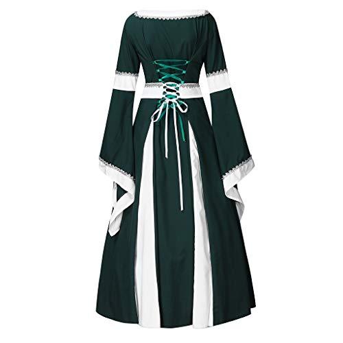 Sale!! Sumeimiya Womens Medieval Dress Renaissance Costumes Irish Over Long Dress Cosplay Retro Gown Queen Ball Gown Green