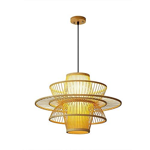 MUMUMI Natural Hand-woven Bamboo Chandelier, Environmental Protection, Moisture-proof, Modern Creative Big Rattan Pendant Light, Adjustable Hanging Wire
