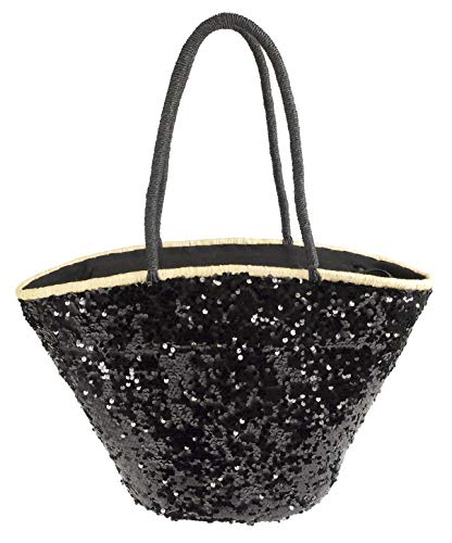 Camomila Milano - Bolso de paja para la playa, color negro