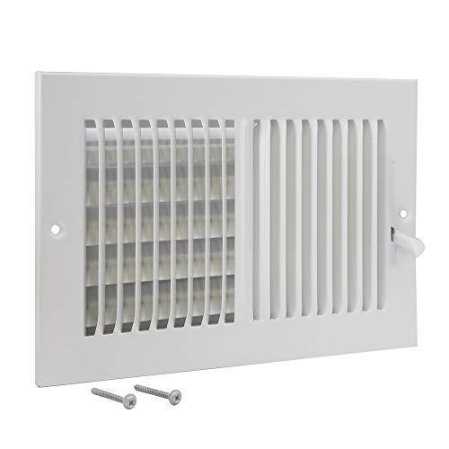 EZ-FLO 61610, White Two-Way Sidewall/Ceiling Register, 10 inch (W) x 6 inch (H) Opening, 10' x 6'