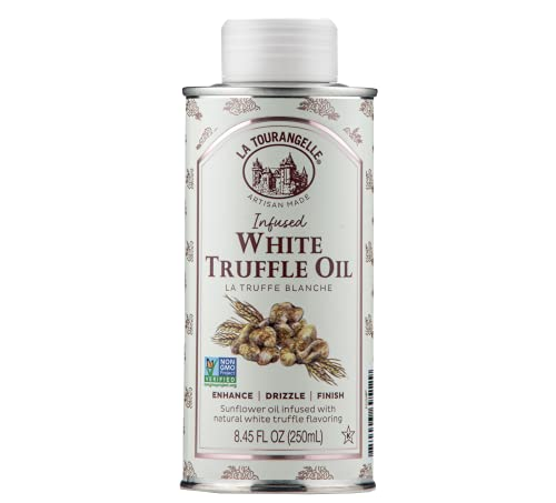 La Tourangelle, White Truffle Oil, Complex Gourmet Earthy Flavor for Drizzling over Pasta, Popcorn, Vegetables, Potatoes, Soup and More, 8.45 fl oz