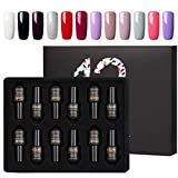 ROSALIND Gel Nail Polish Set Semi-permanent Gel Varnish Soak Off UV LED Manicure kit 12pcs 7ml (Set-1)